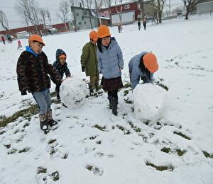 らいおん 雪遊び